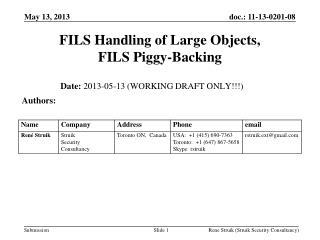 FILS Handling of Large Objects,  FILS Piggy-Backing