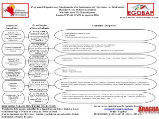 Programa de Capacitación y Adiestramiento a los Funcionarios (as) y Servidores (as) Públicos (as)