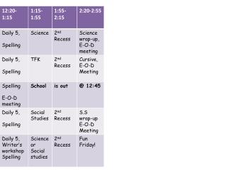 Portable 5's Daily Schedule