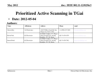 Prioritized Active Scanning  in  TGai