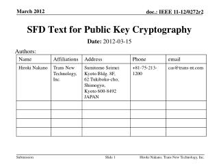 SFD Text for Public Key Cryptography