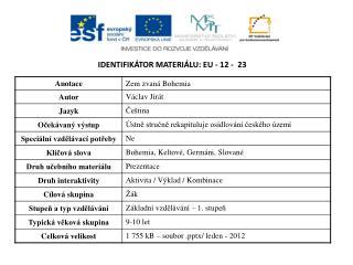 Identifikátor materiálu:  EU -  12  -   23