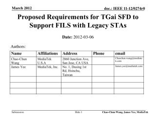 Proposed Requirements for  TGai  SFD to Support FILS with Legacy  STAs