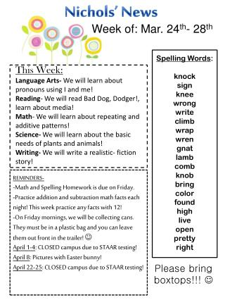 Spelling Words : knock sign knee wrong write climb wrap wren gnat lamb comb knob bring color found