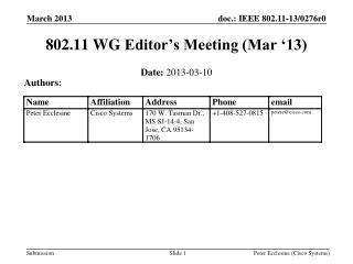 802.11  WG  Editor's Meeting (Mar '13)