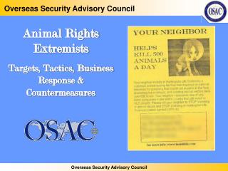Animal Rights Extremists Targets, Tactics, Business Response  Countermeasures