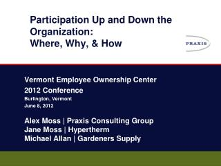 Participation Up and Down the Organization : Where , Why, & How