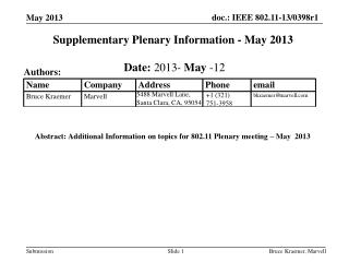Supplementary Plenary Information - May 2013