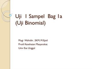 Uji   1  Sampel   Bag 1a  ( Uji  Binomial)