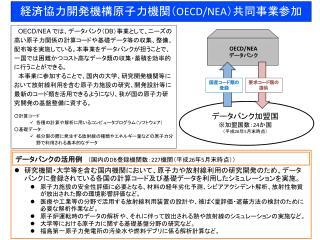 経済協力開発機構原子力機関 ( OECD/ NEA)共同事業参加