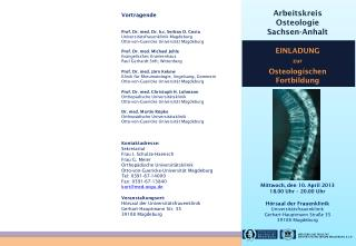 Vortragende Prof. Dr. med. Dr. h.c. Serban D. Costa Universitätsfrauenklinik Magdeburg