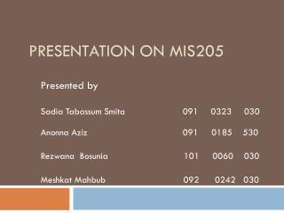 Presentation On Mis205