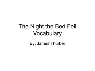The Night the Bed Fell Vocabulary