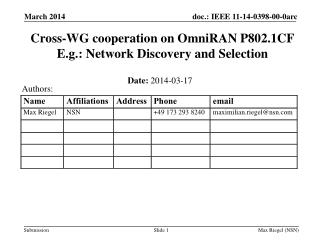 Cross-WG cooperation on OmniRAN P802.1CF E.g.: Network Discovery and Selection