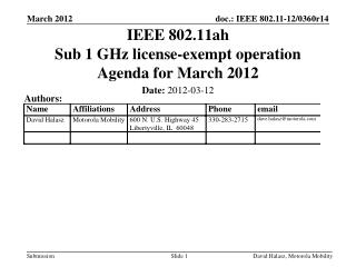 IEEE 802.11ah Sub 1 GHz license-exempt operation Agenda for March 2012