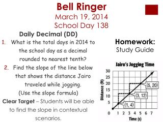 Bell Ringer  March 19, 2014 School  Day  138