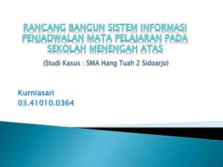 ( Studi Kasus  : SMA Hang  Tuah  2  Sidoarjo )