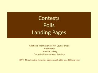 Contests  Polls Landing Pages