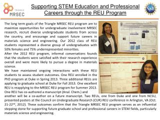 Supporting STEM Education and Professional Careers through the REU Program