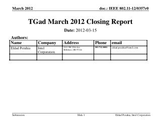 TGad  March 2012  Closing Report