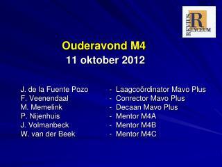 Ouderavond M4 11 oktober 2012