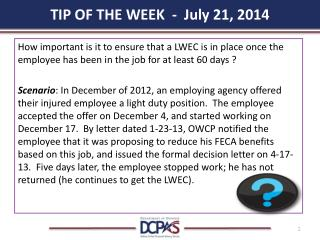 TIP OF THE WEEK  -  July 21, 2014