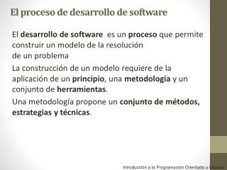 Introducci�n a la Programaci�n Orientada a Objetos
