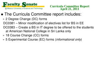 Curricula Committee Report April 21, 2011