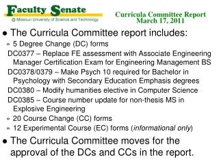 Curricula Committee Report March 17, 2011