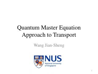 Quantum Master Equation Approach to Transport