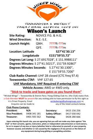 Wilson's Launch