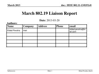 March 802.19  Liaison Report
