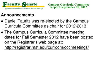 Campus Curricula Committee  Report September 20, 2012