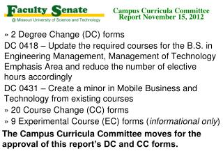 Campus Curricula Committee  Report November 15, 2012