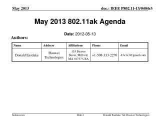May 2013 802.11ak Agenda