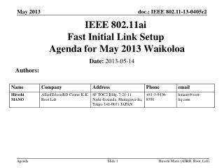 IEEE 802.11ai Fast Initial Link Setup  Agenda for  May 2013 Waikoloa