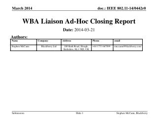 WBA Liaison Ad-Hoc Closing Report