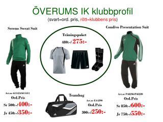 �VERUMS IK klubbprofil (svart=ord. pris,  r�tt=klubbens pris )