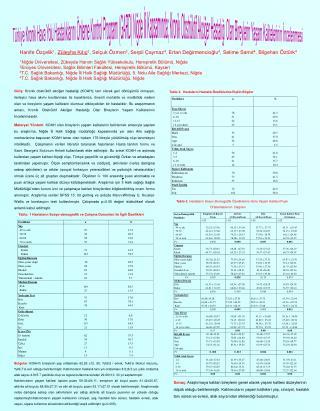 Tablo. 1 Hastaların Sosyo-demografik ve Çalışma Durumları ile İlgili Özellikleri