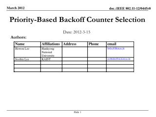 Priority-Based  Backoff  Counter Selection