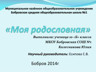 Выполнила: ученица  10  «Б»  класса МКОУ Бобровская СОШ №1                      Колесникова Юлия