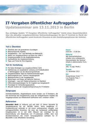 IT-Vergaben  �ffentlicher  Auftraggeber Updateseminar  am 13.11.2013  in Berlin
