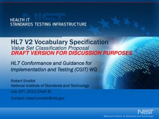 HL7 V2 Vocabulary Specification V alue Set Classification Proposal