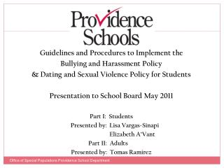 Guidelines and Procedures to Implement the  Bullying and Harassment Policy