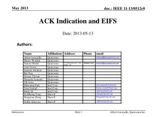 ACK Indication and EIFS