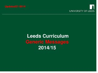 Leeds Curriculum Generic Messages 2014/15