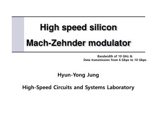 High speed silicon Mach- Zehnder  modulator