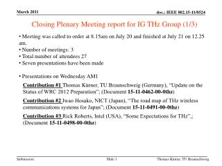 Closing Plenary Meeting report for IG THz  Group (1/3)
