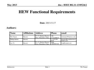 HEW Functional Requirements