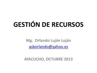 GESTIÓN DE RECURSOS